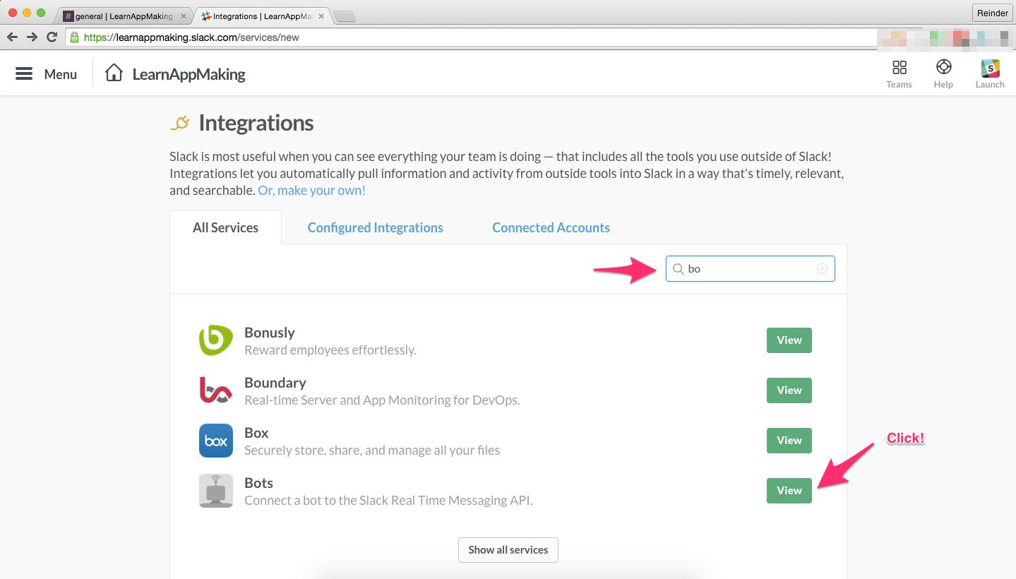 Slack: Adding A Bot Integration
