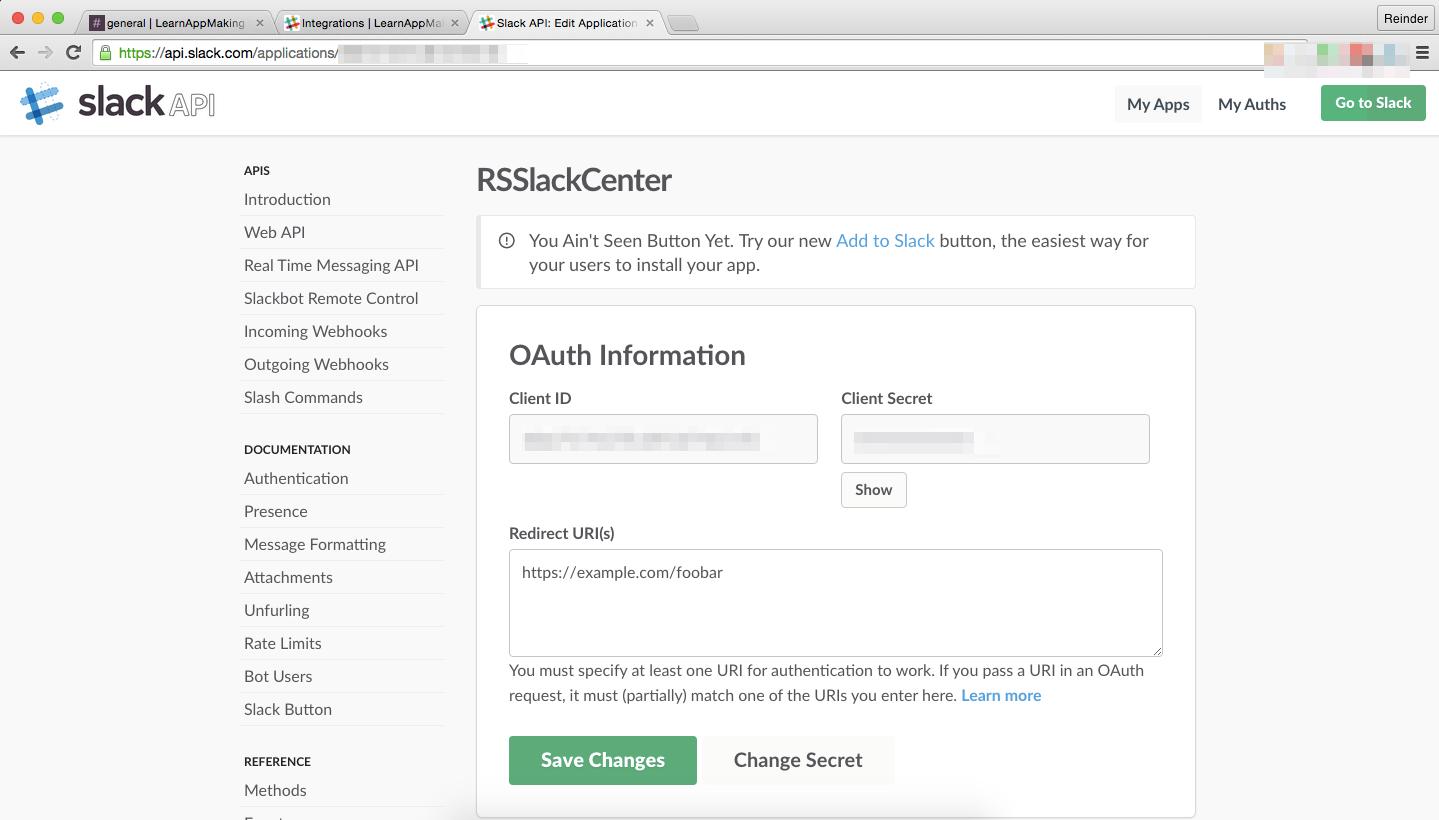 Slack: My App RSSlackCenter