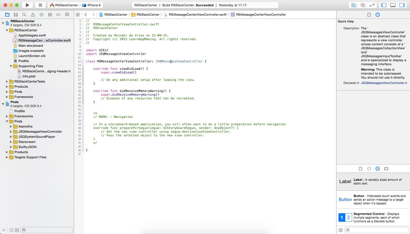 Xcode: New JSQMessagesViewController subclass