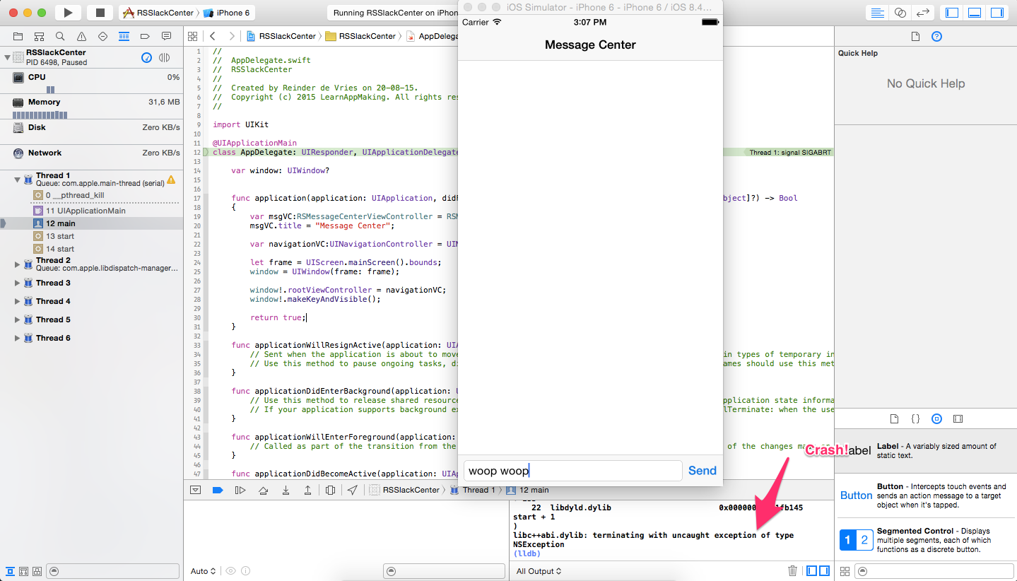 Xcode: Message Center