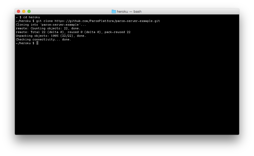 Terminal: Cloning Parse Server Example Sourcecode