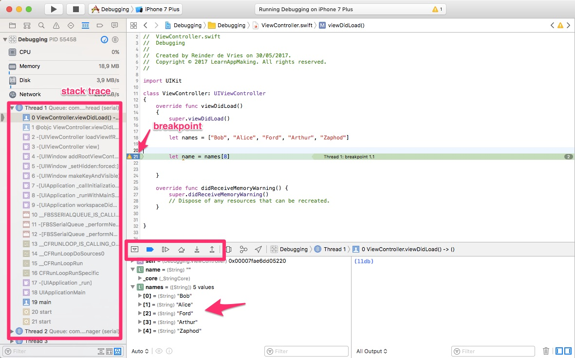 Xcode Debugger Breakpoints