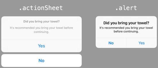 UIAlertController style options actionsheet alert
