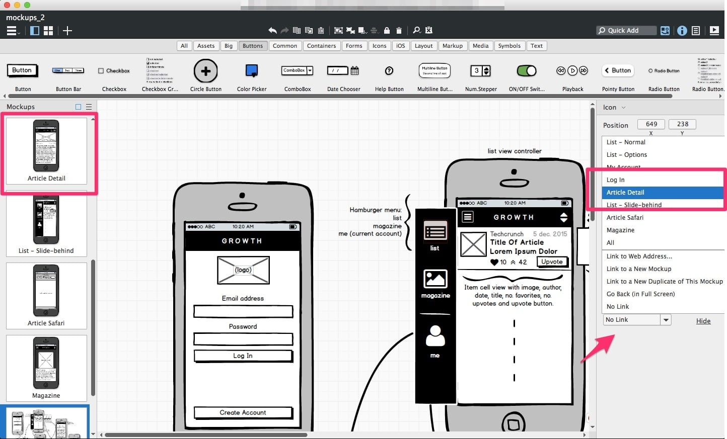 How to Launch an App, Mockups in Balsamiq Mockups