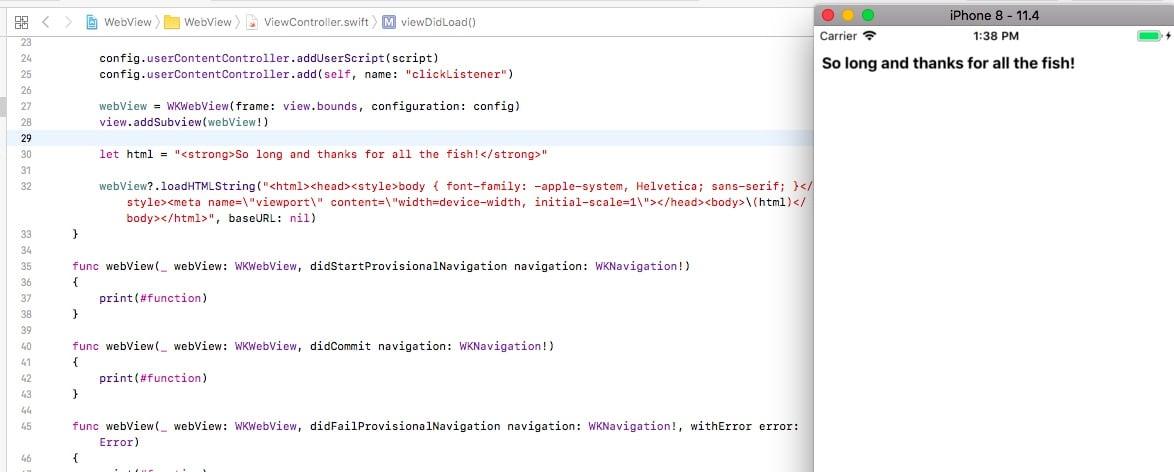 WKWebView HTML page example