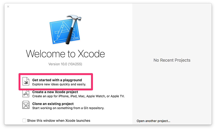 Xcode Welcome: Get started with a playground