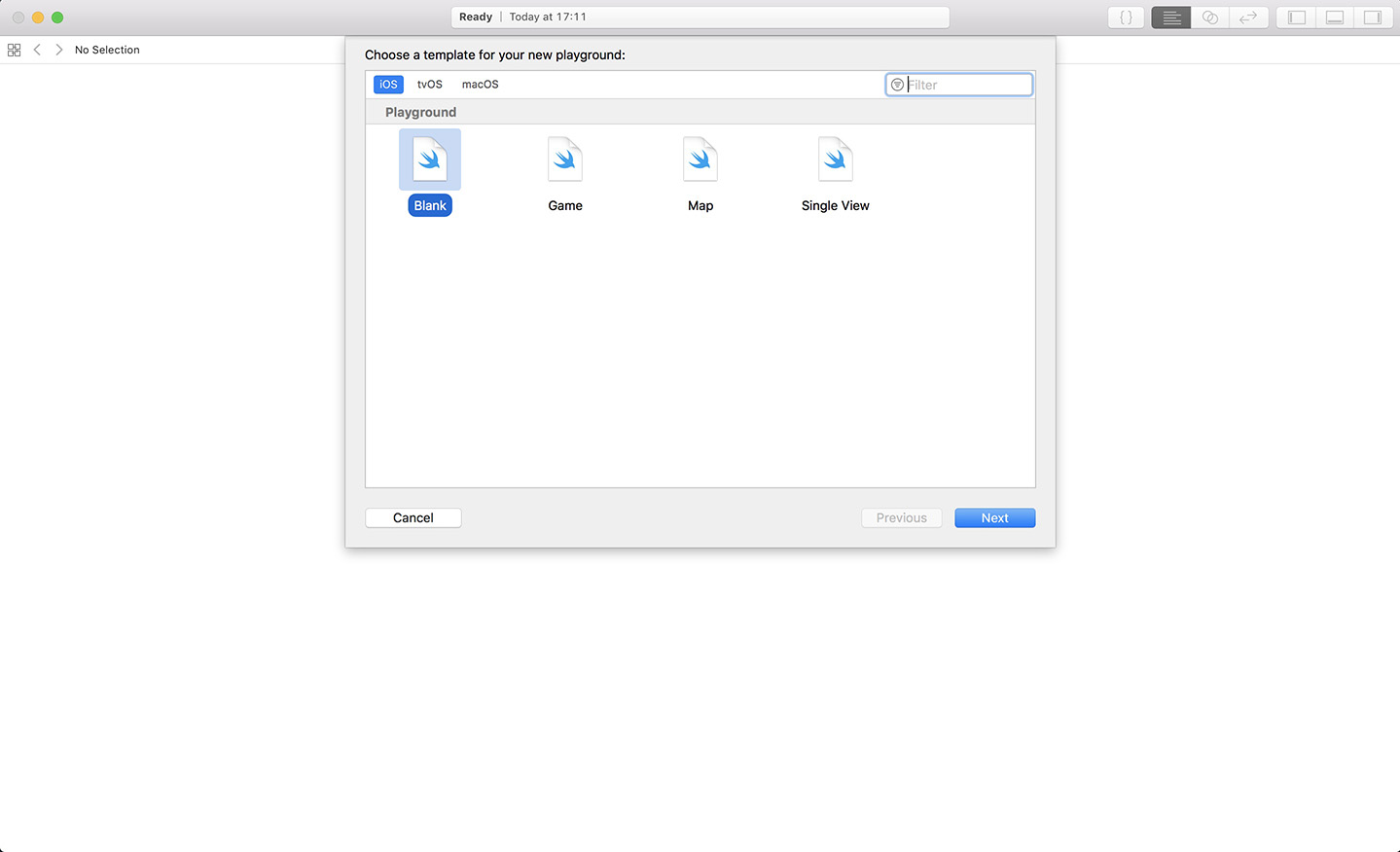 Choose the blank template in Xcode