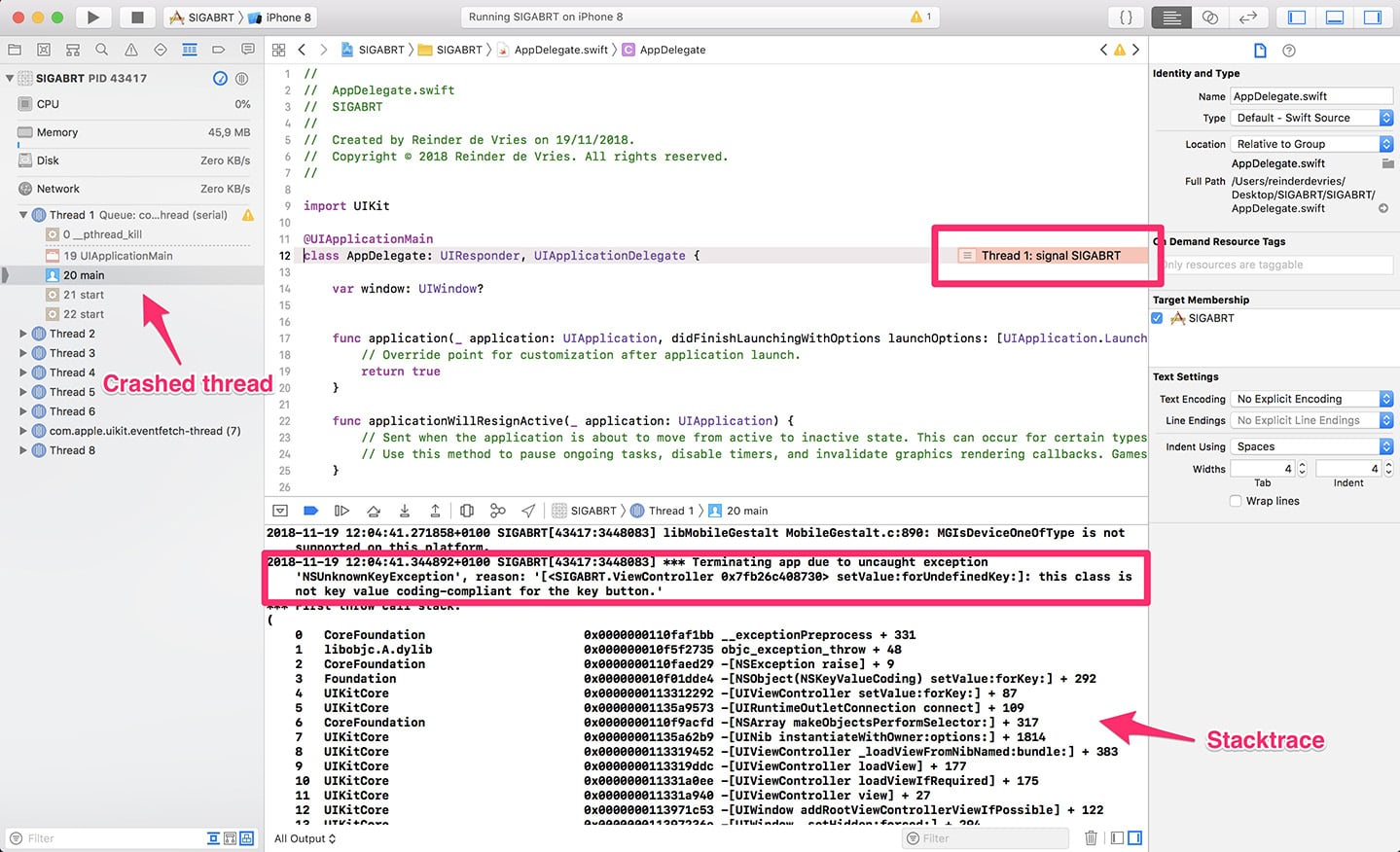 Example of SIGABRT in Xcode