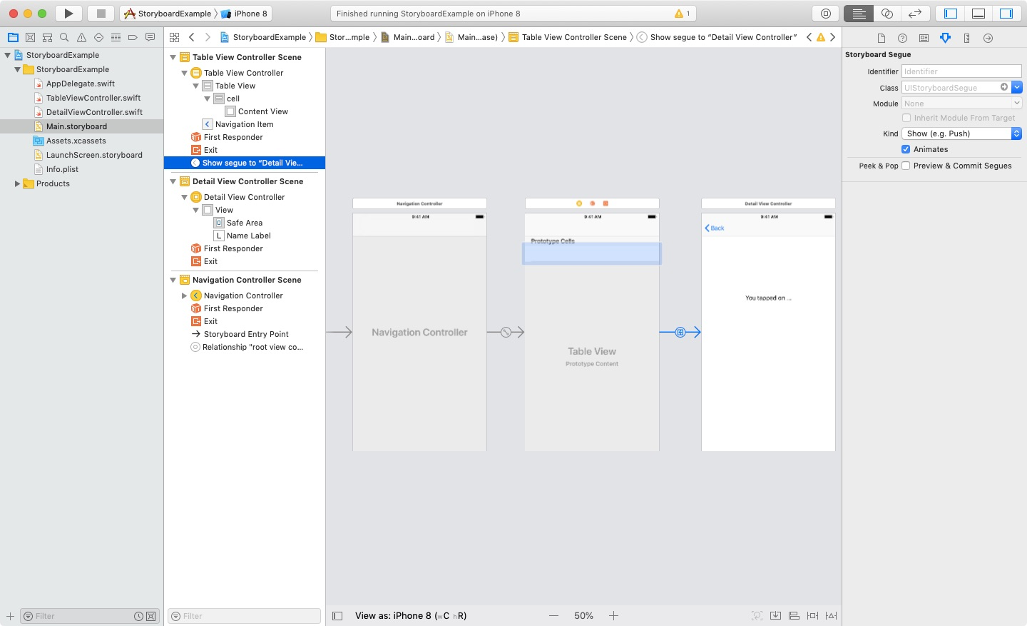 Storyboard Segue with View Controllers