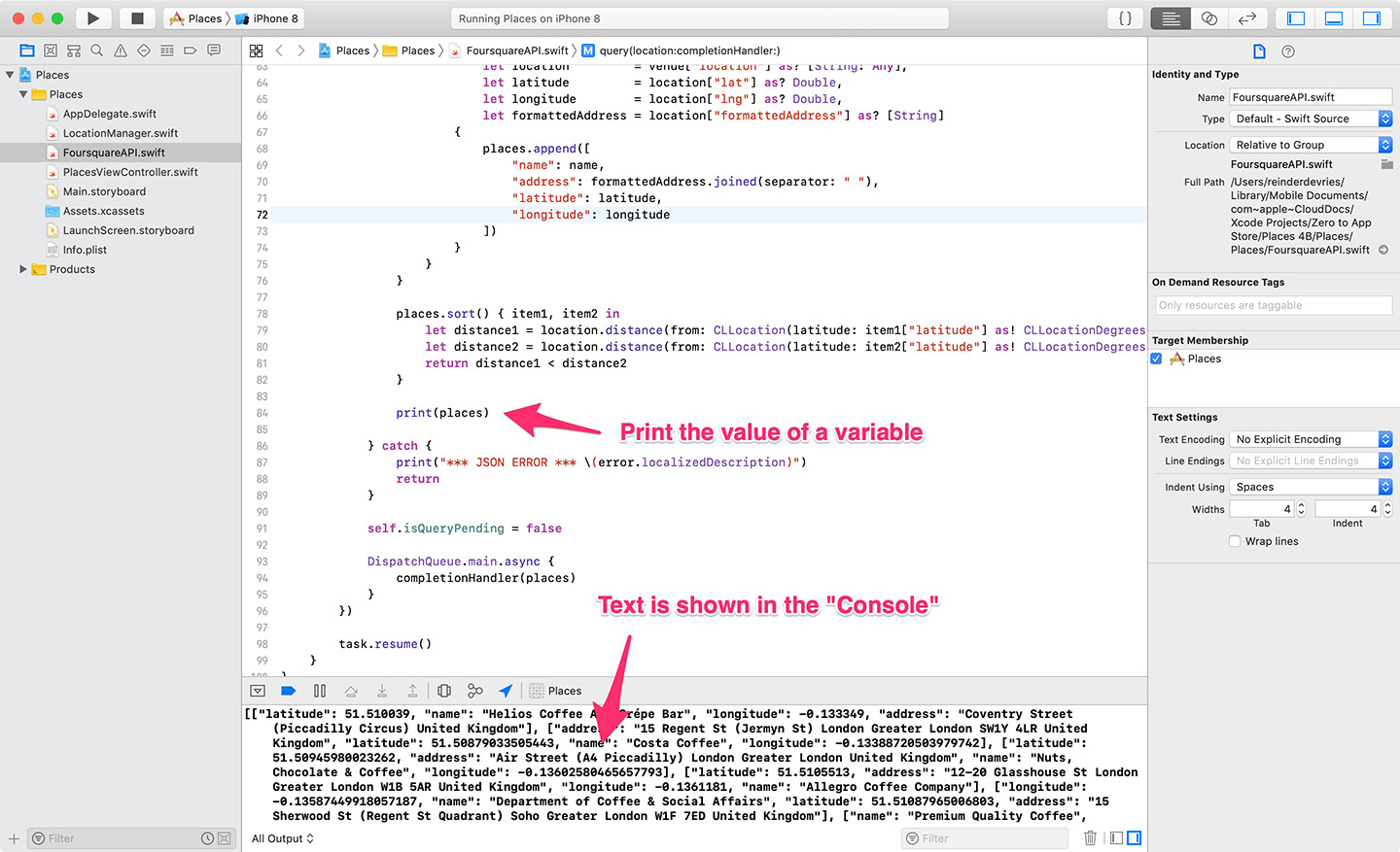 Xcode Debugging with print()