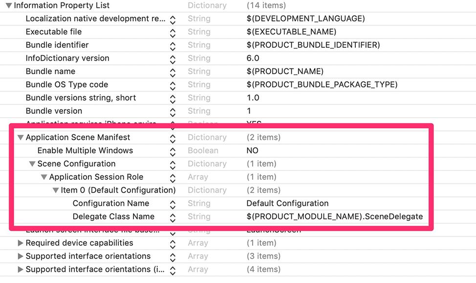 Application Scene Manifest, SwiftUI, Xcode