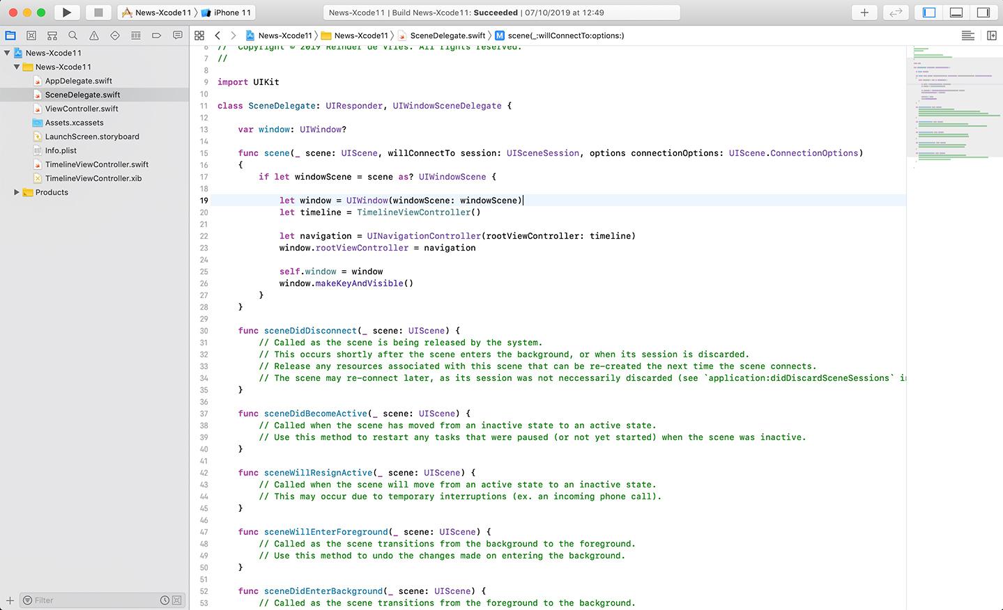 Xcode 11 Scene Delegate