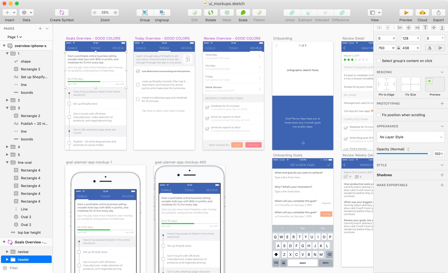 App Idea, 3 UIs in Sketch