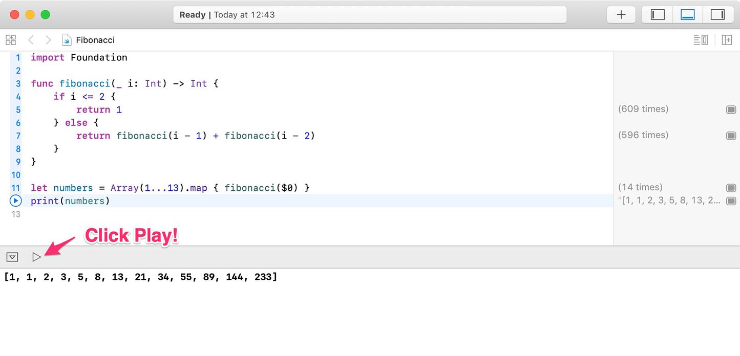 Running code in Xcode playground