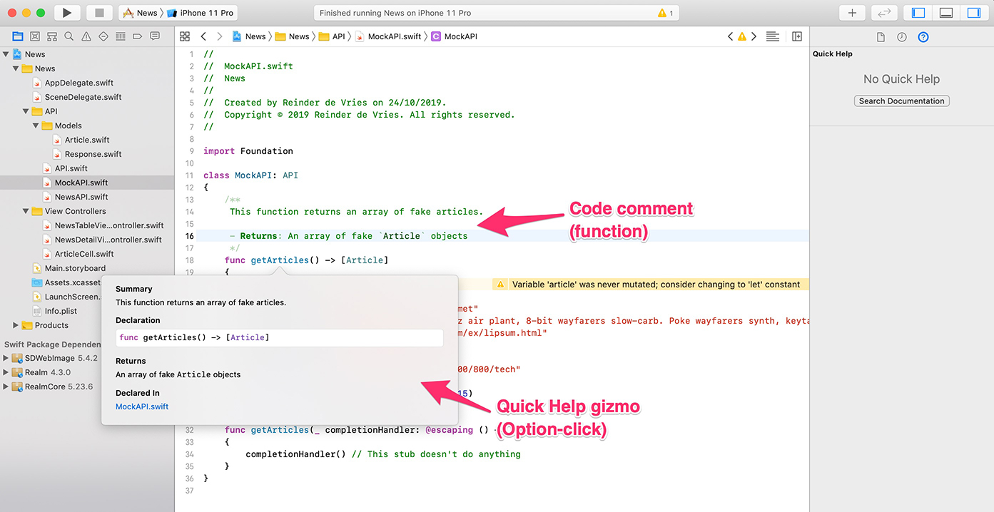 Code comment and quick help