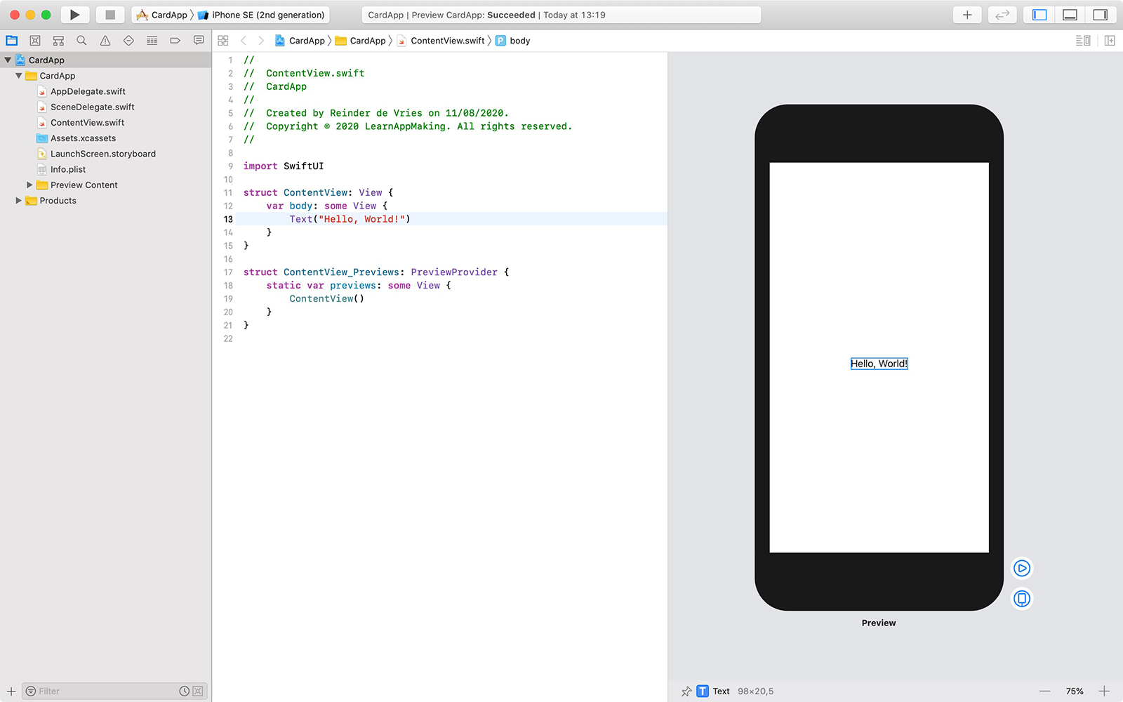 SwiftUI example in Xcode