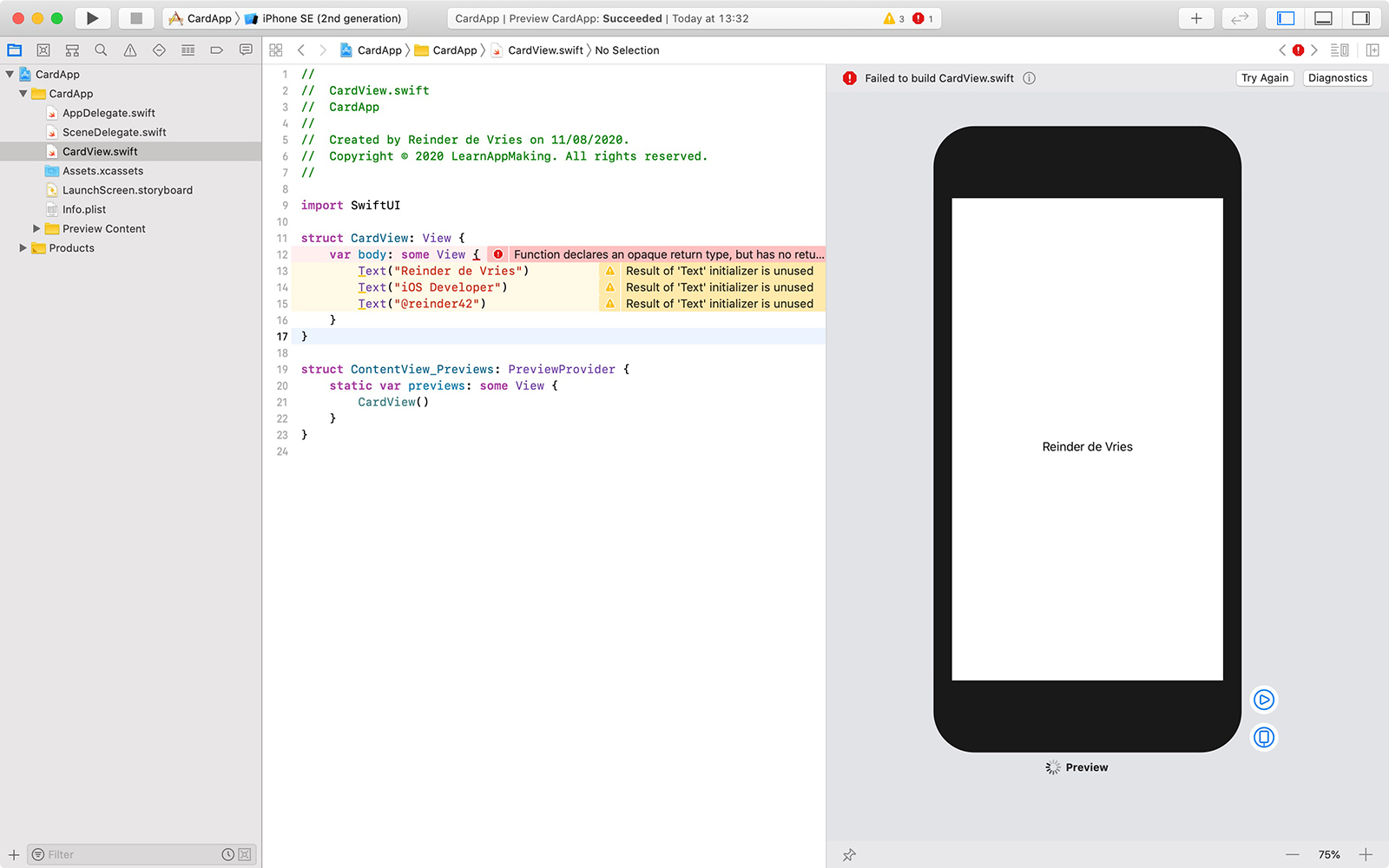 SwiftUI example in Xcode with errors