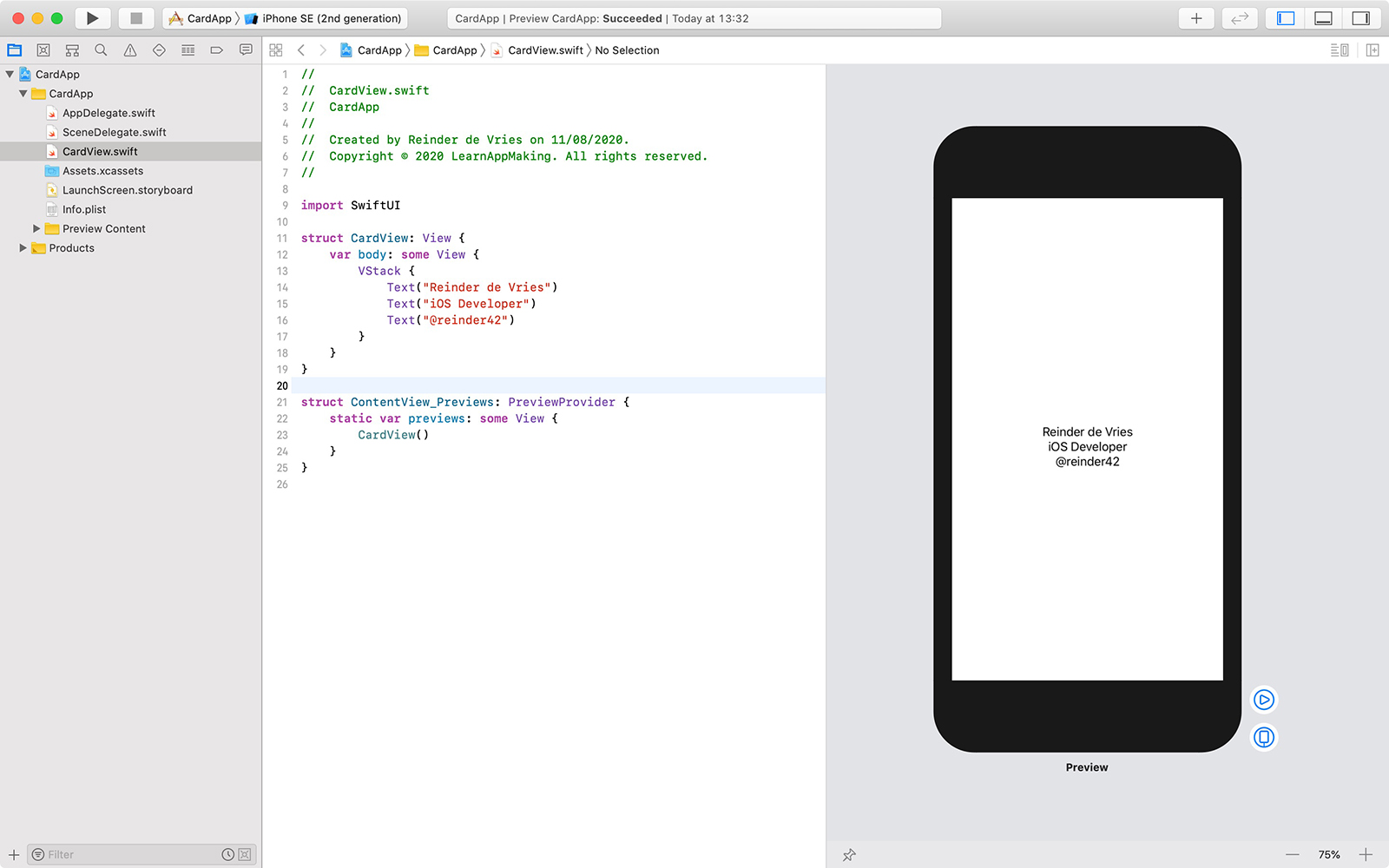 SwiftUI view in Xcode with stack and text views