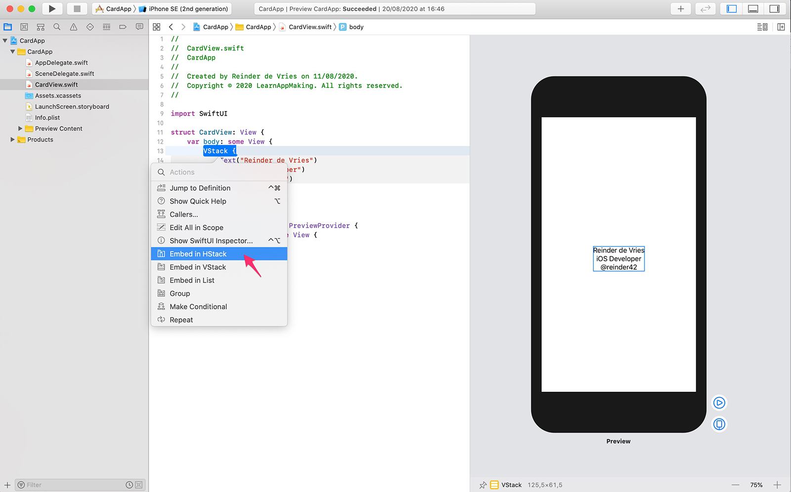 Xcode, Embed in HStack