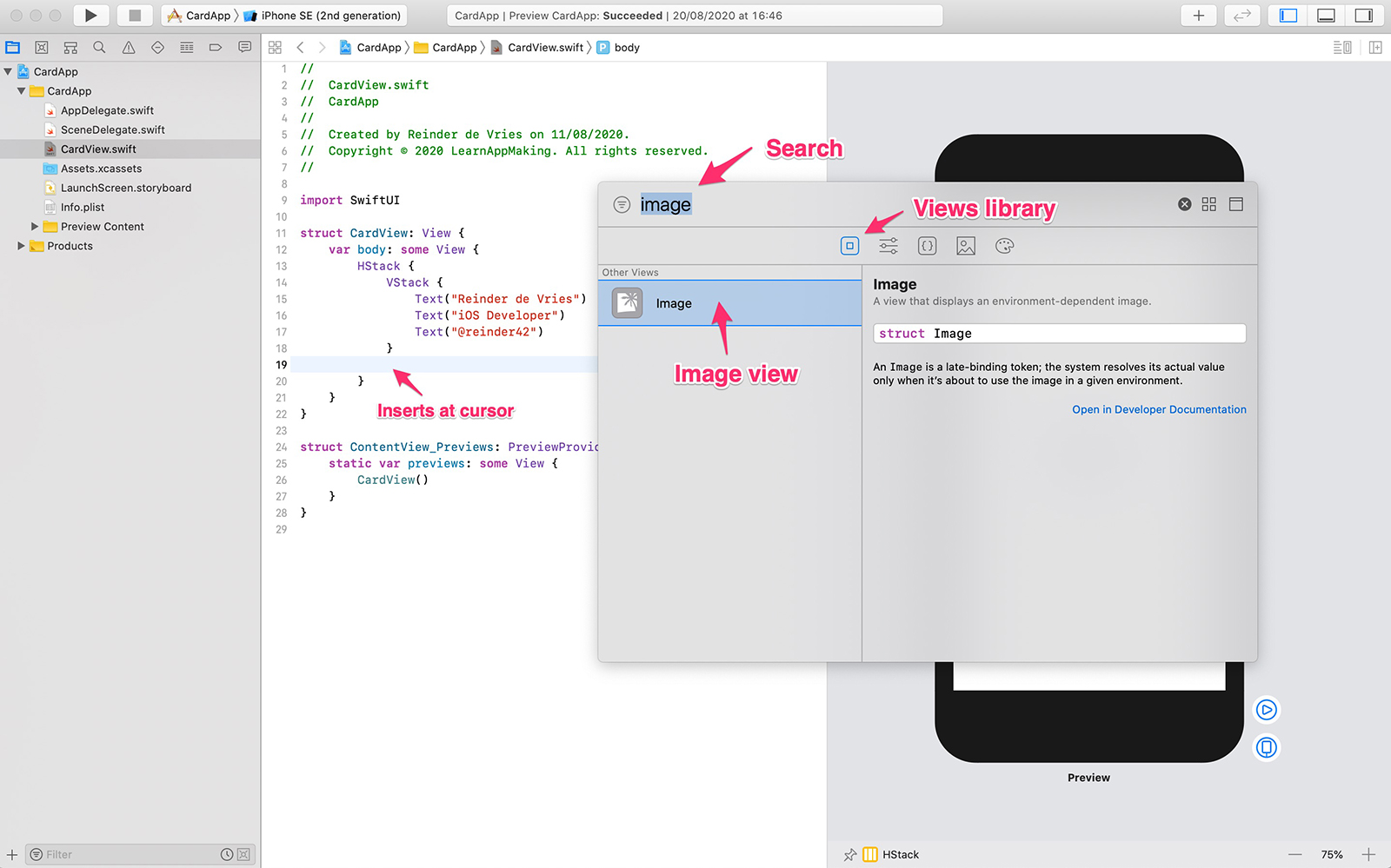 Xcode, Views library, insert view