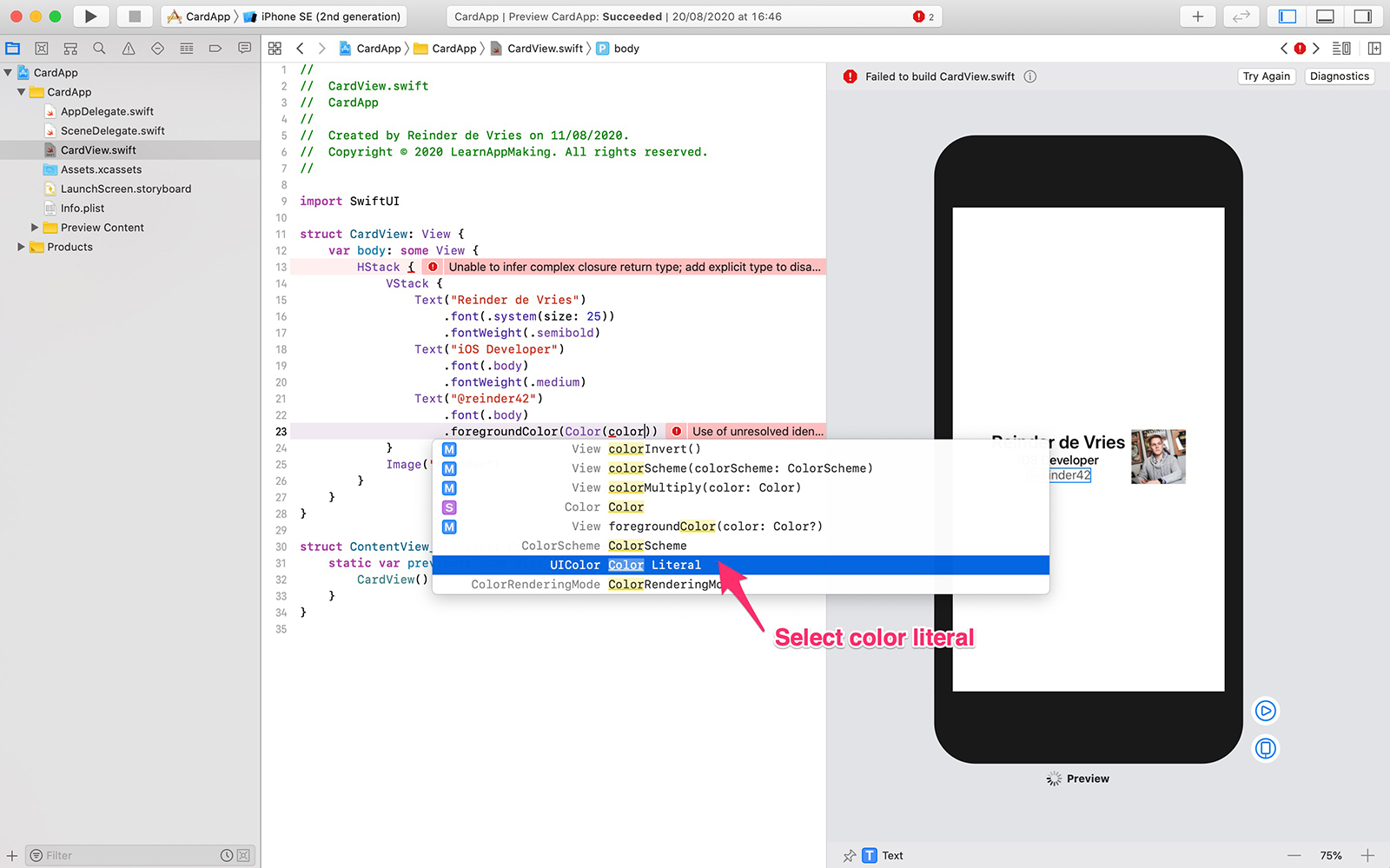 Xcode color literal for SwiftUI