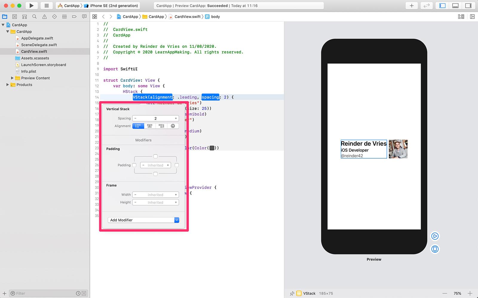 SwiftUI Inspector in Xcode editor