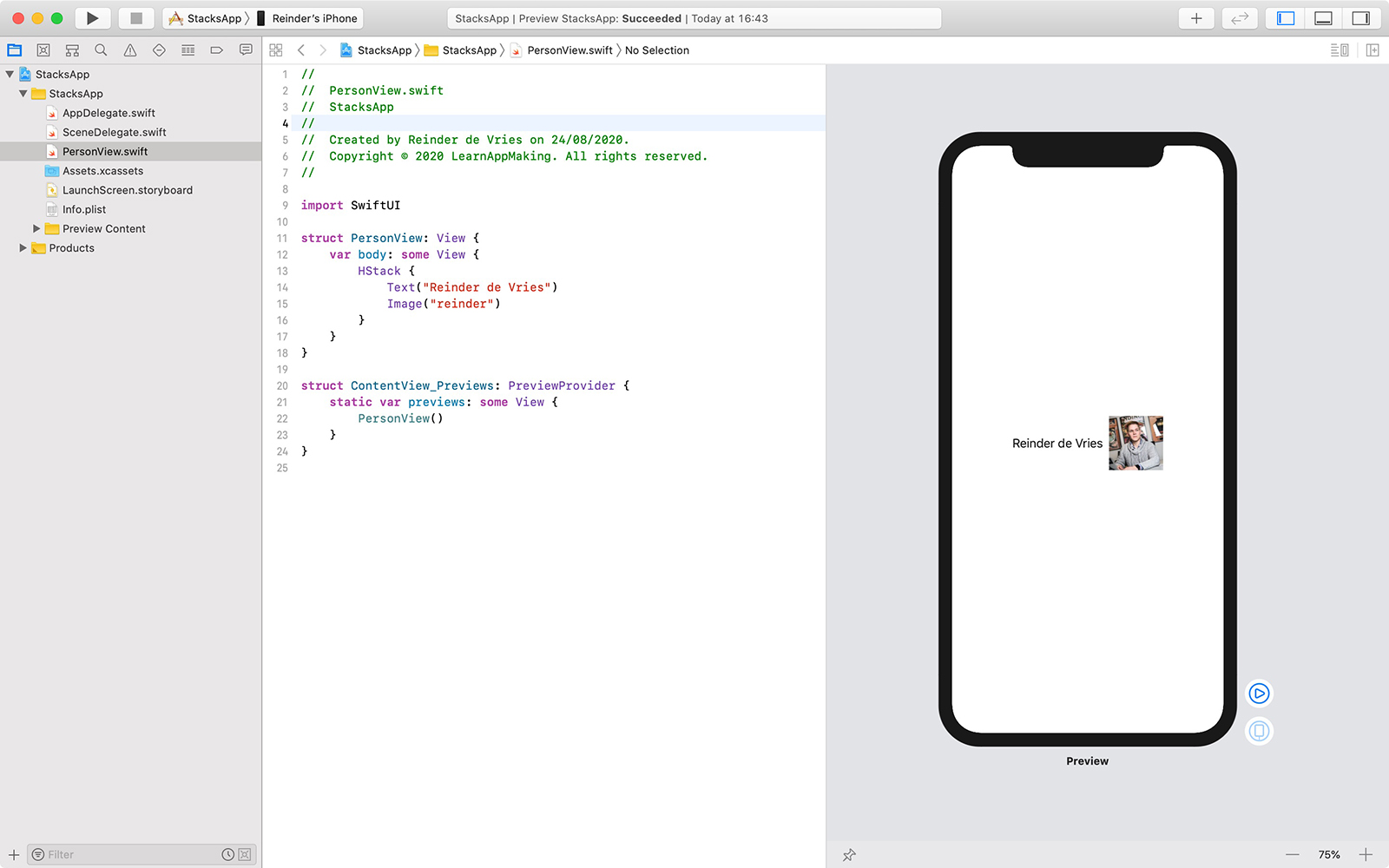 Example of HStack in Xcode
