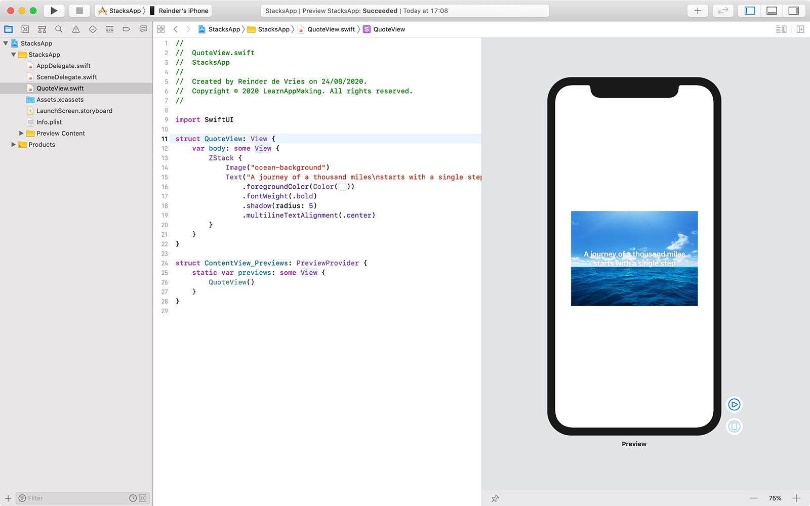 Example of ZStack in Xcode