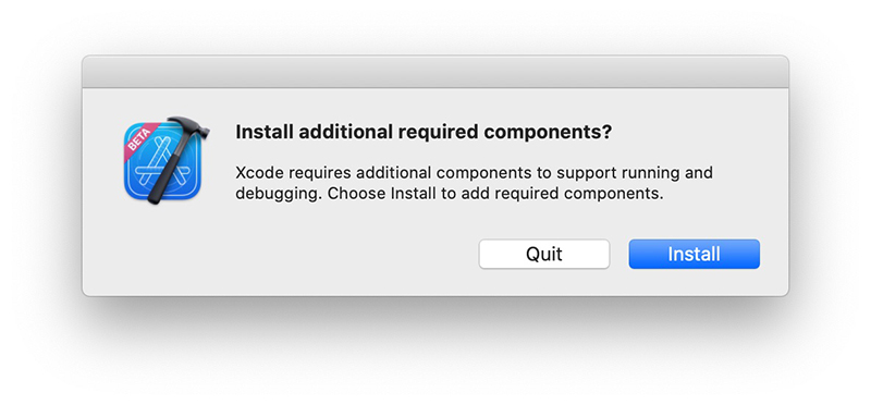 Install additional components Xcode