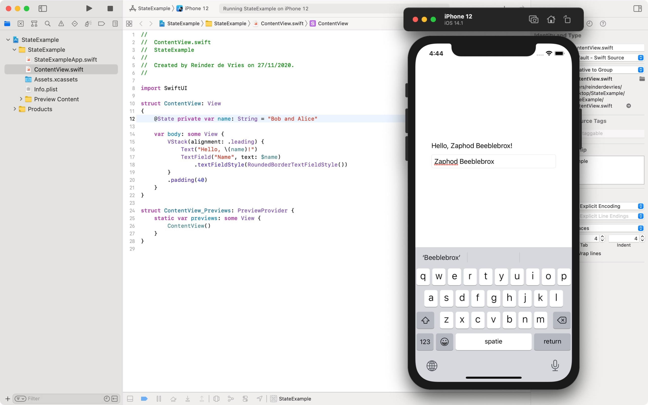 SwiftUI State and TextField example in Xcode
