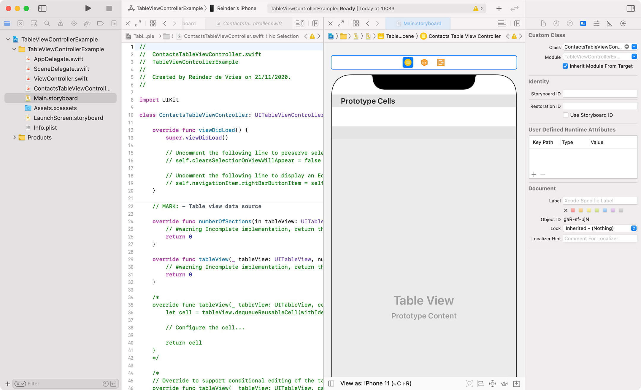 Xcode table view controller set up