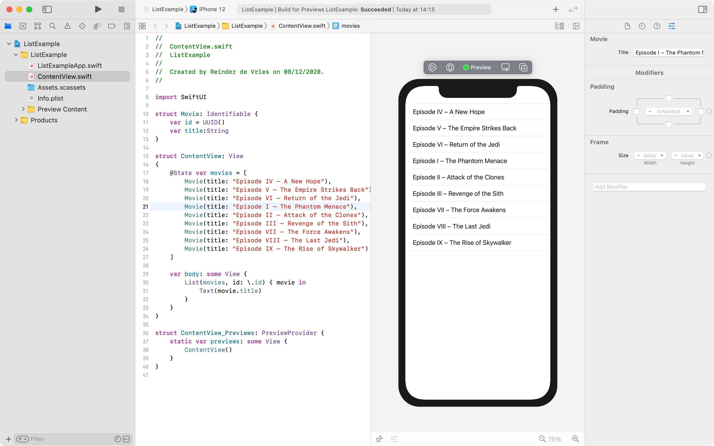 SwiftUI List view example in Xcode