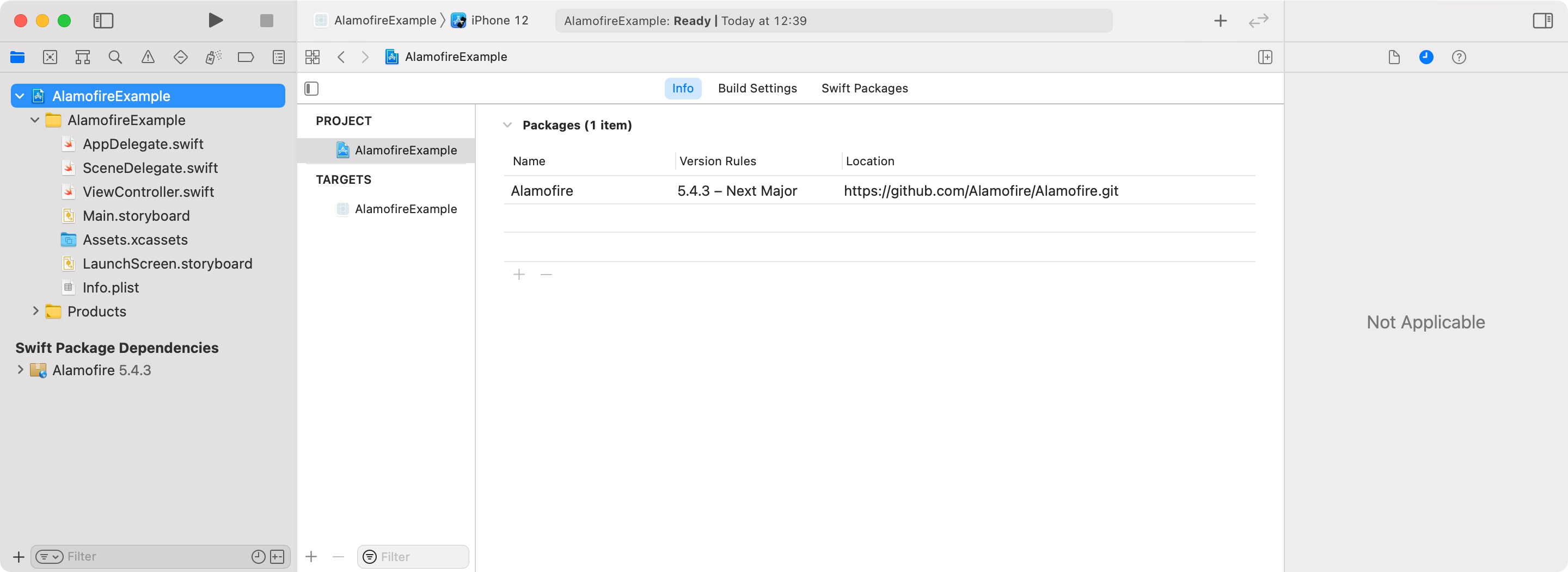 Swift Package Manager screenshot in Xcode with Alamofire installed