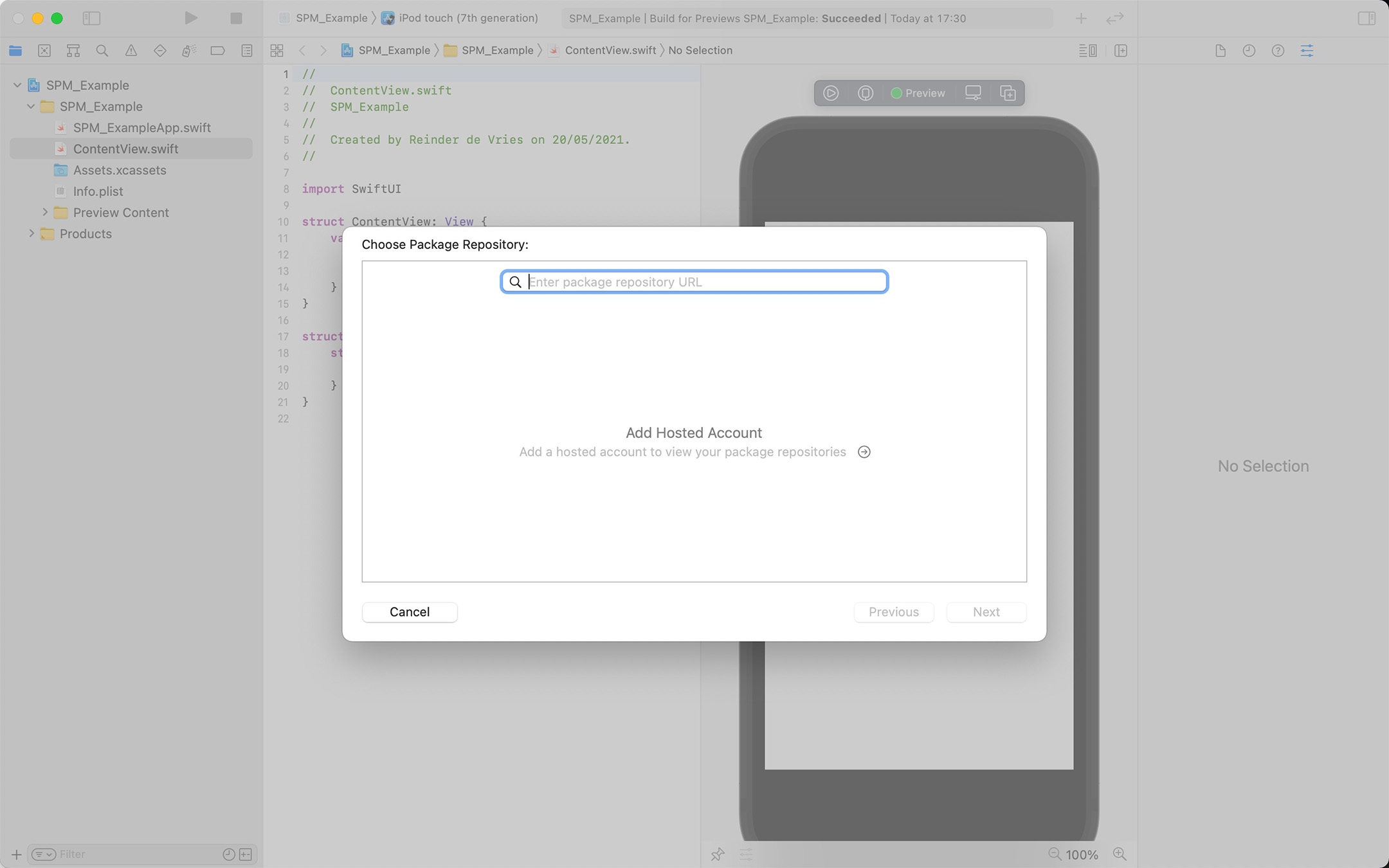 Swift Package Manager screenshot, a dialog that shows: Enter repository URL