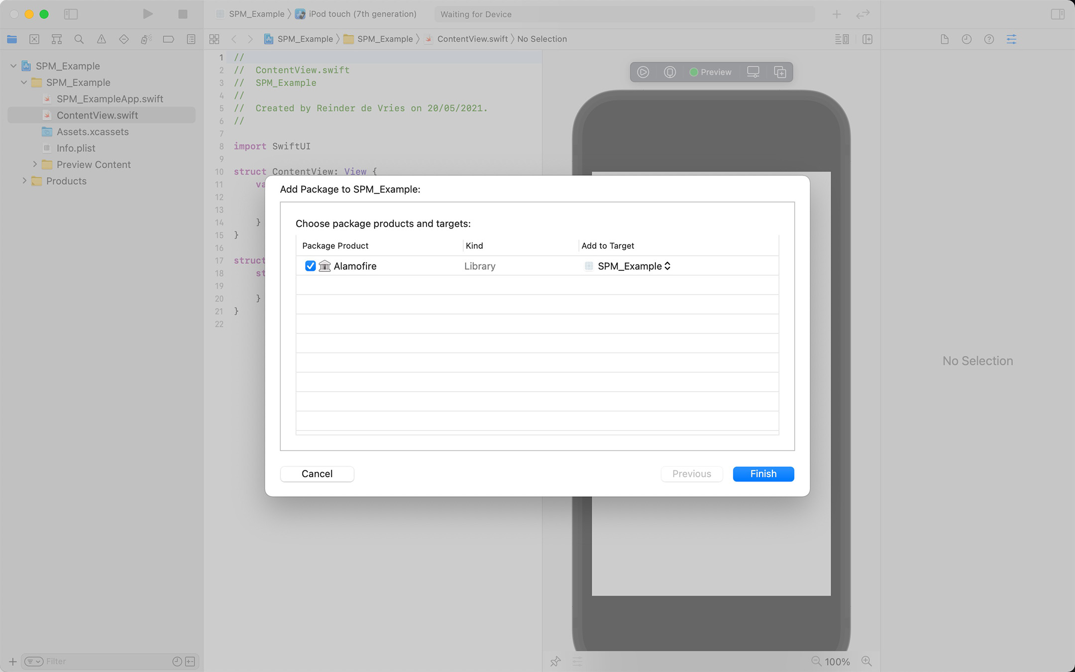 Swift Package Manager screenshot, a dialog to Add to Target